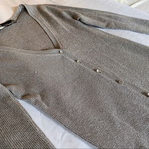 Zara Silver Lurex Cardigan with Crystal Buttons XS